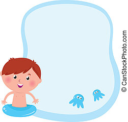 Blank template / banner for kids swimming - vector