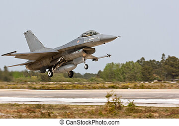 MONTE REAL, PORTUGAL-APRIL 7: F16 Portuguese taking off....