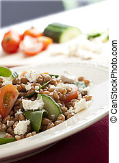Healthy Wheat Berry Salad - Fresh salad with spelt wheat...