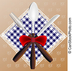 napkin, spoon, knife and fork - against the background of...