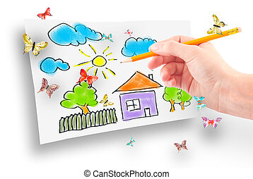 The dream home - Woman's hand with the pencil and brushes...