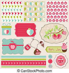 Design Elements for Baby scrapbook with apples - easy to...