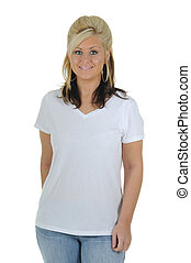Pretty Woman Wearing a Plain White Tee Shirt - A pretty...