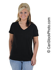 Pretty Woman Wearing a Plain Black Tee Shirt - A pretty...