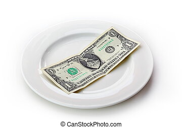 The money on the plate.