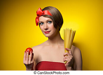 Young housewife in retro style