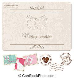 Retro Wedding Invitation postcard, with stamps - for design...