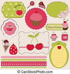 Cherry Design Elements for scrapbook - easy to edit
