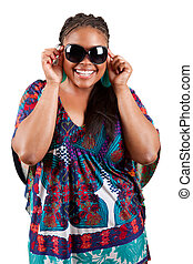beautiful black woman wearing sunglasses
