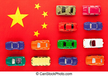 Chinese car industry 1 - miniature cars positioned on...