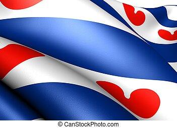 Flag of Friesland, Netherlands, close up.