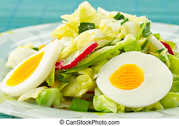 Spring salad of cabbage and radishes
