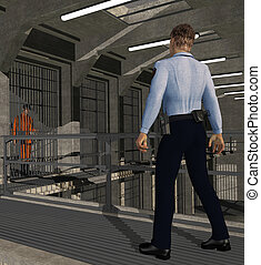 Corrections Officer at Work - A corrections officer patrols...