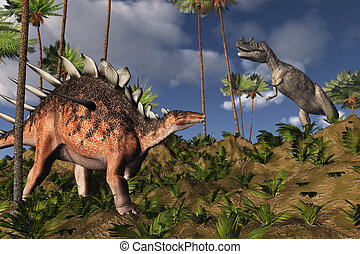 Kentrosaurus and Ceratosaurus - Prehistoric scene with a...
