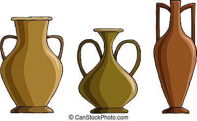 Amphora - Three amphora on a white background, vector