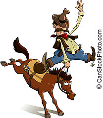 Cowboy loser - Horse throws off a cowboy, vector...