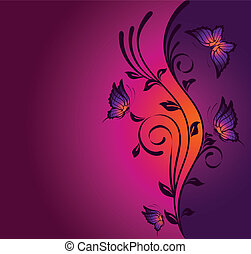 background with tropical butterfly - Beautiful background...