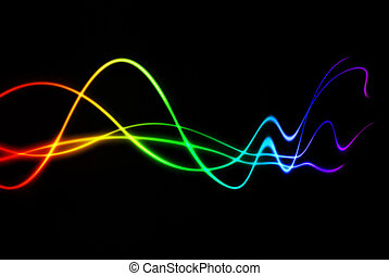 fading sound noise - colorful rainbow waves with fading...