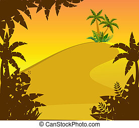 Landscape with tropical plants
