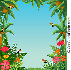 tropical plants and parrots. - Background with tropical...