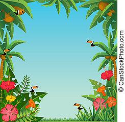 tropical plants and parrots.