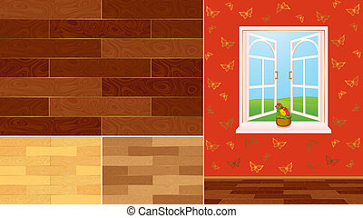 home interior with window - wood texture swatches for a home...