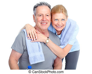 Senior fitness - Gym, Fitness, healthy lifestyle. Smiling...