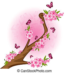 bonsai with flowers and butterflies - Beautiful bonsai with...