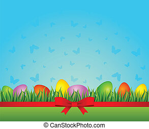 Easter Eggs. Vector - Eggs with flowers. Easter Vector card