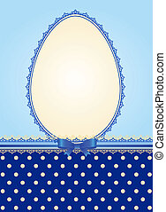 lace ornaments and egg, bow - Easter card - lace ornaments...