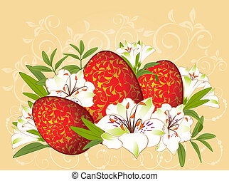 Eggs with flowers. Easter Vector card