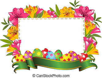 Eggs with ribbon and flowers. Easter card