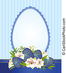 lace ornaments and flowers - Eggs with lace ornaments and...