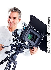 Cameraman - Handsome man with camcorder Isolated over white...