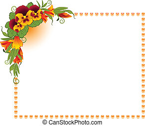 Pansy with lace ornaments on background