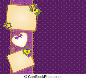 Pansy with lace ornaments and heart on background