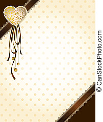 lace ornaments and heart on background