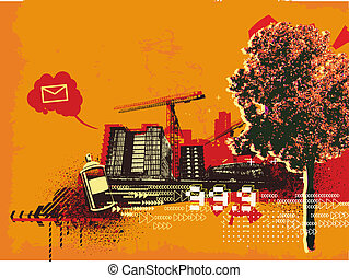abstract urban background - Vector illustration of grunge...