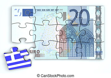 20 Euro Note Puzzle And a Greek Piece - 20 Euro note from...
