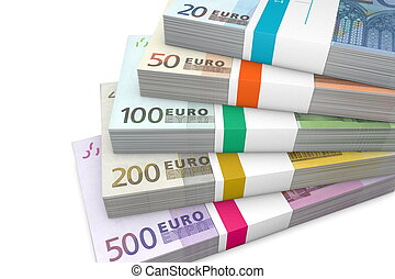Pile of Euro Cash Packets