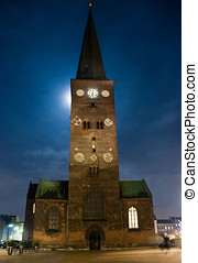 Moonlit cathedral - Cathedral at night Aarhus, Denmark