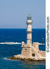 The beacon - Light tower marking the entrance to Chania...