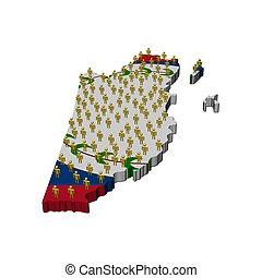 Belize map flag with many people
