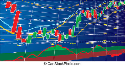 Forex chart diagram - Vector illustration of Forex growth...