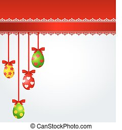 Easter Eggs with ribbon. Vector