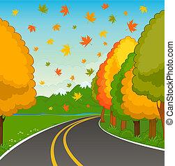 autumn landscape - The autumn landscape with an asphalt road...