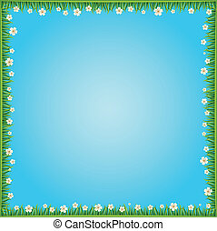 Blue background with flowers and grass. Vector
