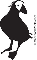 Tufted Puffin - silhouette of Tufted Puffin