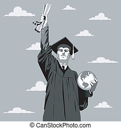 Graduation Boy - Vector illustration of a young man reaching...