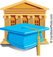 Graduation Icon - Vector Illustration of a cap with tassle...